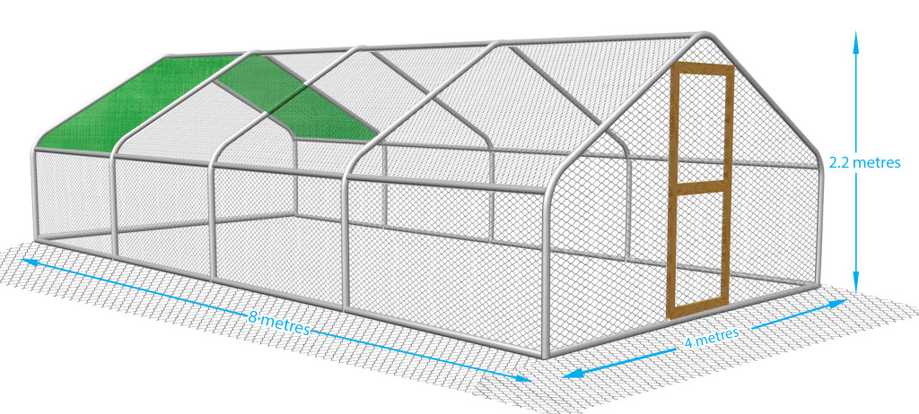 Galvanised steel frame and mesh chicken run.