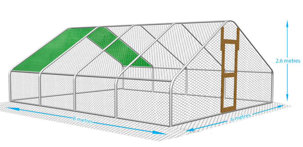 Ideal for a large garden or small holding, this chicken run can comfortably house up to 25 chickens.