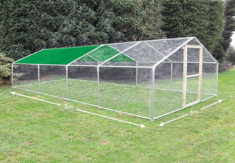 chicken run cover 6 x 8 metres 2 bay