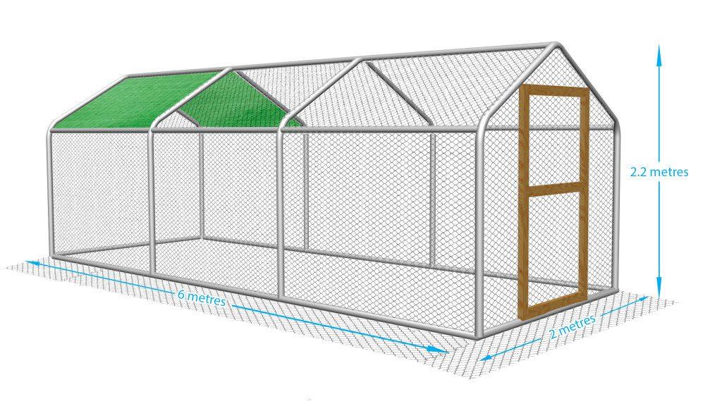 Steel frame chicken pen. Heavy gauge mesh to keep your chicken run fox proof.