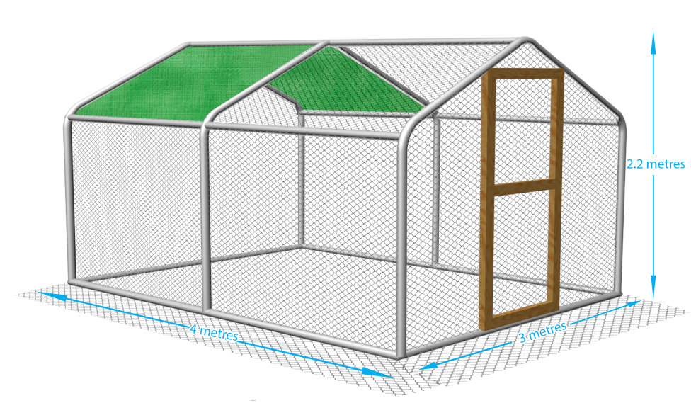 3 m x 4m Chicken pen with part cover.