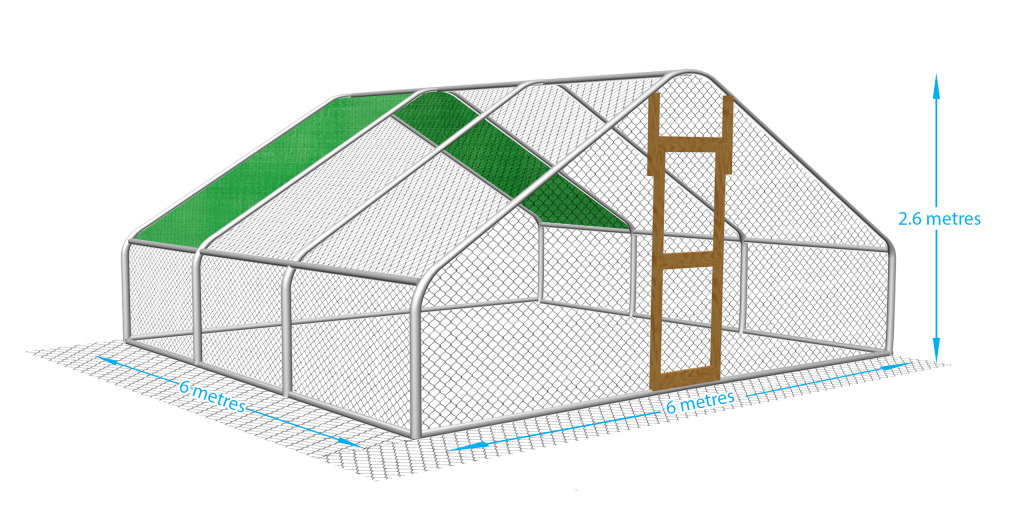 This is a big chicken run suitable for keeping up to 20 birds comfortably.